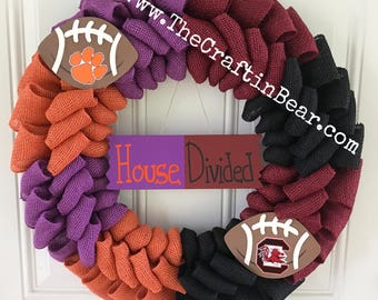 House Divided wreath - House Divided - Burlap wreath - Clemson University - University of South Carolina- Other teams available - USC