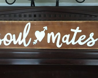 SOULMATES Soul Mates Heart Urban Farmhouse Sign Rustic Plaque Hand Painted Wooden You Pick Color Woodland Barn Love WEDDING Decor
