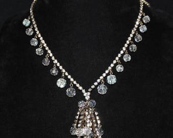 Absolutely Gorgeous Vintage A/B Crystal and Rhinestone Tassel Necklace