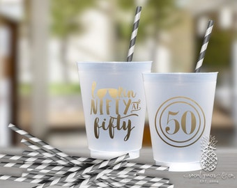 50th Birthday Party Frosted Cups | social graces Co.