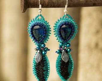 Bead Embroidered Turquoise Earrings with Glass Cabochons