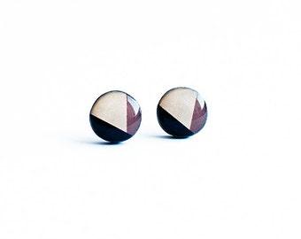 Brown stud earrings geometric jewelry nickel free post earrings