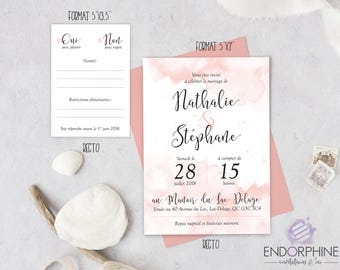 Printable watercolor wedding invitation. Invitation + RSVP card