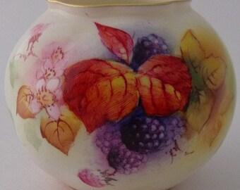 Royal Worcester Fruit And Leaves Vase By M Miller