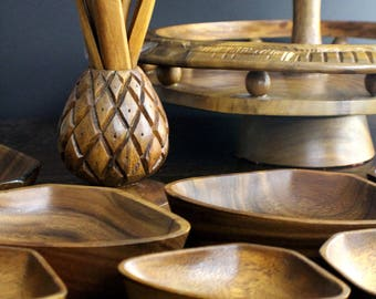 Monkey Pod Tray - Monkey Pod - Tiered Lazy Susan - Lazy Susan - Monkey Pod Wood - Pineapple Serving Tray - Boho Serving Tray - Luau Party