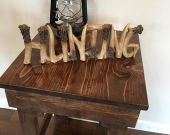 Reclaimed wood end table night stand farm rustic table hunting