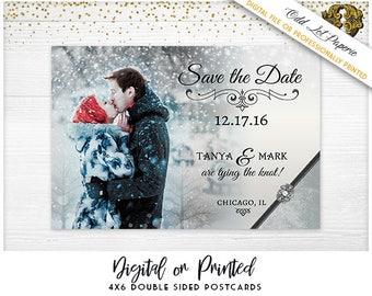 Winter Save the Date Christmas Wedding Announcement Winter Wonderland Snowflakes Elegant Winter Wedding Digital or Printed Photo Postcard