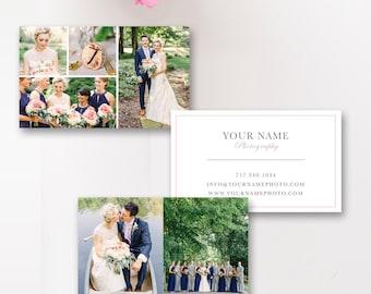 Business Card Template, Wedding Photographer Business Cards, Digital Photoshop Templates - INSTANT DOWNLOAD