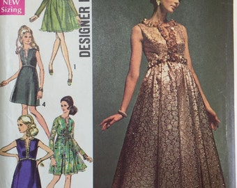 Vintage Simplicity 8497, 60's Evening Gown,  Misses' Evening Dress Designer Fashion  Size 12, Bust 34 from 1969 uncut
