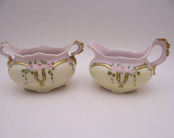 Vintage 1910s Imperial PSL Austrian Hand Painted Pink Rose Creamer and Sugar Bowl Set - Delightful