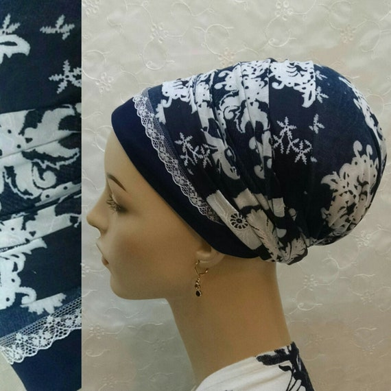 Navy floral with lace sinar tichel, tichels, head wrap, head scarf, hair snood, Jewish head scarves, head covering, chemo scarf, mitpachat