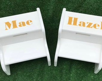 Solid Color Step Stool For Toddler, Child, Kid Stool With Name One Color