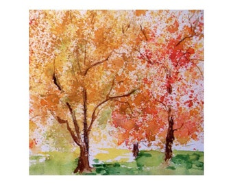 Original Watercolor * TREES IN AUTUMN * Art by Rodriguez * Small Art Format