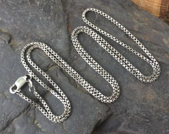 "24"" Silver Chain - Sterling Silver Chain -  Silver Box Chain - Antiqued Silver Chain - Oxidized Silver Chain - Long Silver Chain - Sweet Wat"