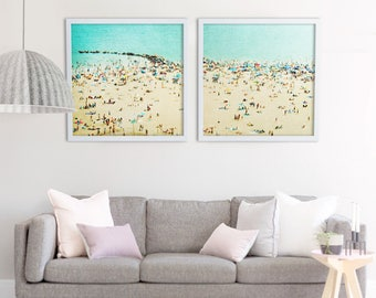 Large Beach Photography // Oversize Art // Beach Print // Aerial Photography // Beach People // Teal Prints // Large Beach Print Two Prints