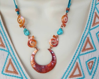 Copper Necklace -  Turquoise Necklace - Turquoise Leather - Rustic Cowgirl Necklace - Swirls - Cowgirl Jewelry