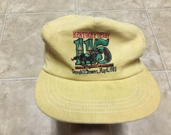 Vintage 1989 80s Kentucky Derby Snapback Corduroy Hat Horse Racing Mesh 115th Churchill Downs