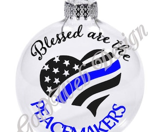 Thin Blue Line, Blessed Are The Peacemakers Floating Glass Ball Christmas Ornament