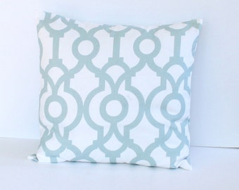 Snowy Blue Link Pillow Cover- Snowy Blue Contemporary Decorative Couch Pillow 18x18- Ready to Ship