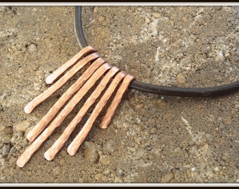 Graduated Hammered Copper Chimes on Thick Brown Leather Necklace in Matte or Polished Finish, Lucky Seven