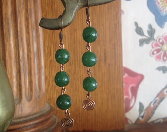 Green Glass Wire Work Earrings *** Free US Shipping ***