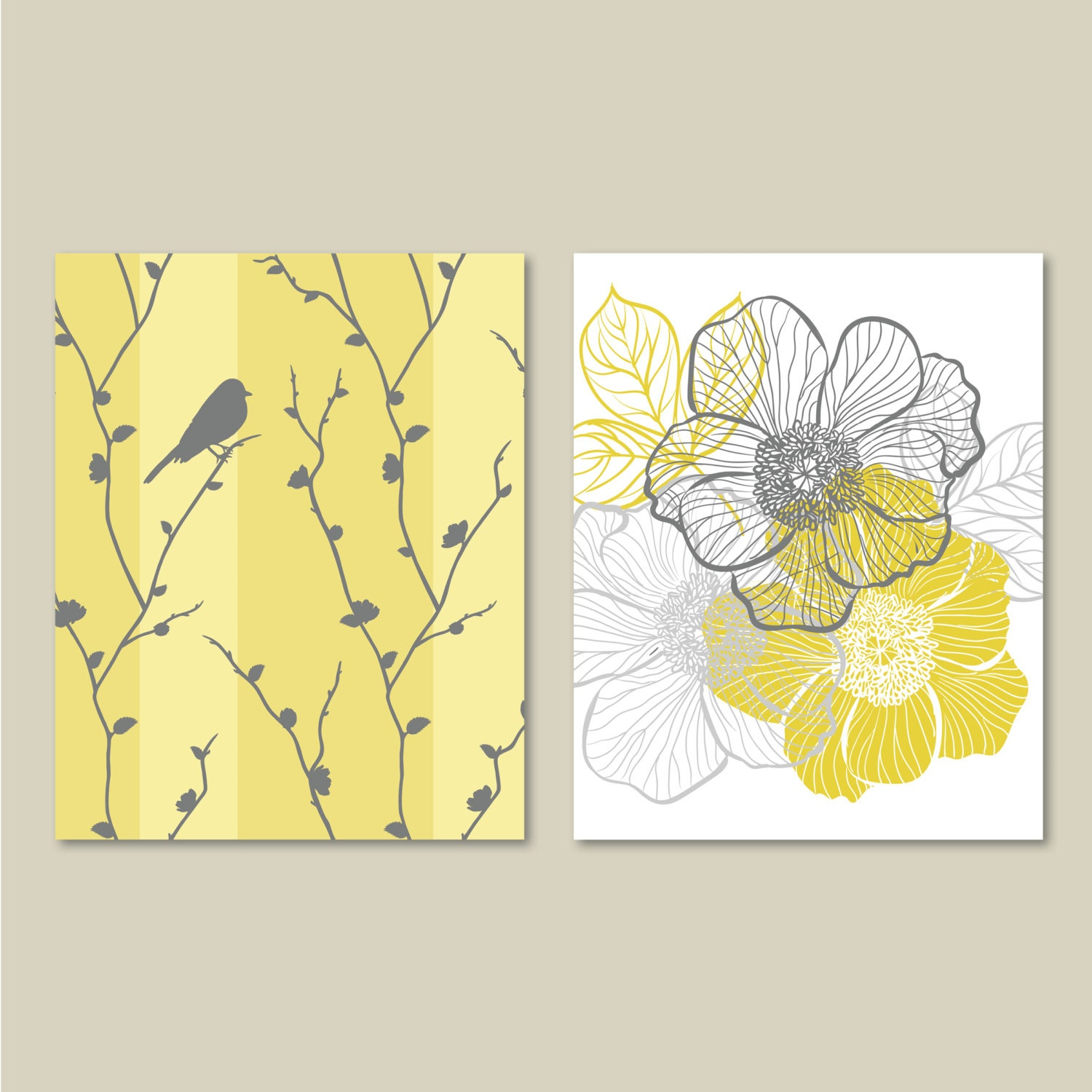 Abstract Floral and Bird Duo. Home. Decor. Wall Art. Bathroom