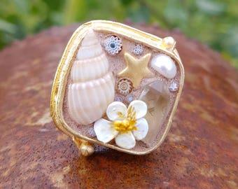 Mosaic ring//gold// handmade//Murano Millefiori//gifts for her//Geschenke für sie//romantic jewelry