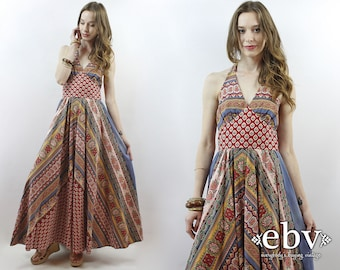Hippie Dress Hippy Dress Bohemian Dress Festival Dress Boho Dress 1970s Dress Vintage 70s Dress 70s Maxi Dress Halter Dress XS S