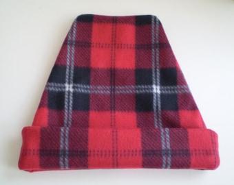 Fleece Red Black White Plaid Hat, Fleece Plaid Slouchy Hat, Fleece Plaid Slouchy Cap, Red Plaid Cap, Red Plaid Hat, Plaid Chemo Hat