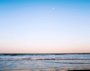 Pastel Moon Over the Ocean