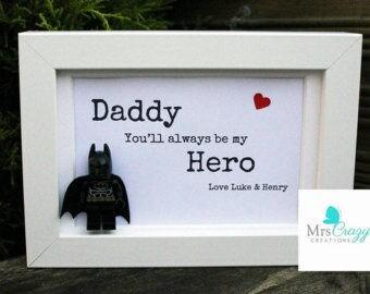 Personalised Lego superhero Dad frame