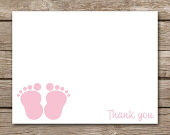 Baby Feet Thank You Cards - Baby Shower - Girl - INSTANT DOWNLOAD, PRINTABLE