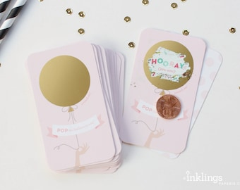 24 Scratch Off Bridal Shower Game Cards  // Wedding Shower Game, Scratch Off Game, Birthday Party Game, Baby Shower // Pink and Gold Balloon