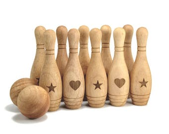 Bowling Game 10 Pin Set Personalized Wooden Toy Montessori Wood Toy Personalized Bowling Game for Baby Christmas Gift New Baby gift Birthday