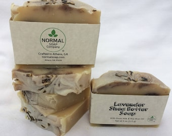 Lavender Shea Butter Soap 4oz handmade bar w/ goats milk and shea butter