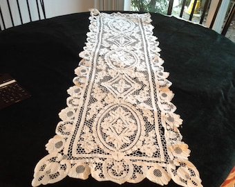 Antique runner, needle lace, handworked