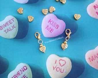 "Gold conversation heart ""I Love You"" ""Kiss Me"" TN planner charm bead dangle clip"