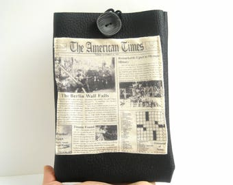 "Kindle Paperwhite case, e Reader 6"" holder, black vegan faux leather cover with pocket, newspaper pattern American Times on e reader sleeve"