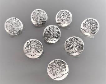 8 boutons 14 mm arbre de vie métal coloris argent
