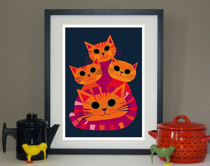 Doris and her Kittens by Jay Kaye  A3 print
