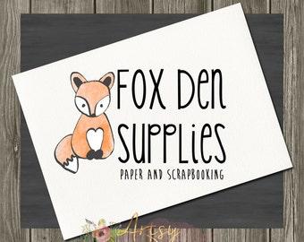 Fox Logo Design, Premade Logo, Instant Download Logo, Watercolor Logo, DYI Logo, PSD Logo Template,  Custom Logo Design, Logo #21