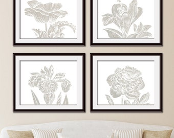 Botanical Wild Flower Impressions (Series B Horizontal) Set of 4 Art Prints (Featured in Stone Wash) Botanical Plant Sketch Art