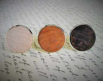 REAL WOOD CUFFLINKS / Rustic Wedding Cuff Links / Country Wedding / Groomsmen Gift / Carpenter Gift / Choice of Stain / Mens Wooden cufflink