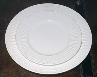 MIKASA, Italian Countryside, one place setting, 11 1/4'' Dinner Plate, 8 1/2'' Salad Plate, white, embossed rim, scrolls, Vintage Dinnerware