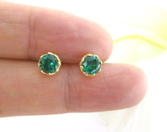 Christmas Gift Oval 4mm*3mm Each Natural Emerald Stud Earring BNFPwlslX4