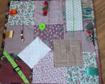 Fidget Quilt for Dementia Patients, Gift for Grandparent, Wheelchair Activity, Rehab Tool, Fidget blanket for Alzheimer's,