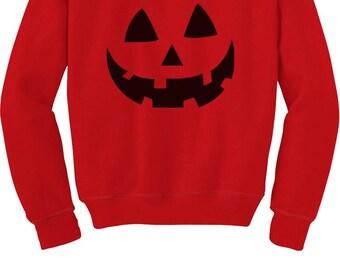 Jack O' Lantern Pumpkin Face Halloween Costume Toddler/Kids Sweatshirt