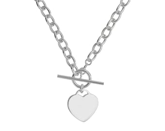 "Sterling Silver 925 Heart Tag Charm T-Bar 17"" Albert Chain Necklace Hallmarked"