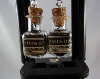 Clear Poison Bottle Earrings