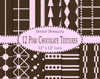 12 Pink Chocolate Patterns - Instant Download - Scrapbook - Party - Wedding - Shower - Personal - Commercial